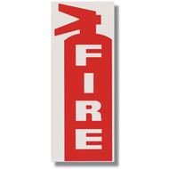 """Picture of a Die Cut Fire Extinguisher Sign w/ FIRE and Icon, White on Red, 3""""w x 8.5""""h vinyl."""