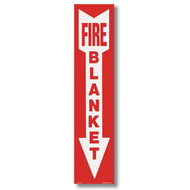 """Picture of a Fire Blanket sign with arrow, 4""""w x 18""""h vinyl."""