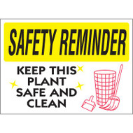 Drawing of white and yellow safety reminder keep this plant safe and clean sign.