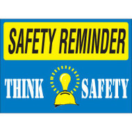 Drawing of blue and yellow safety reminder think safety sign.