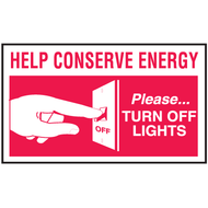 Drawing of red and white help conserve energy please turn off light mini instructional label with graphic.