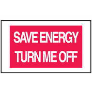Drawing of red and white save energy turn me off mini instructional label.