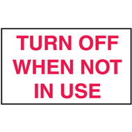Drawing of white and red turn off when not in use mini instructional label.