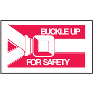 Drawing white and red buckle up for safety mini instructional label with graphic.