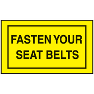 Drawing of black and yellow fasten your seat belts mini instructional label.