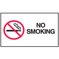 Drawing of black and white no smoking mini instructional label with graphic.