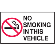 Drawing of white and black no smoking in this vehicle mini instructional label with graphic.
