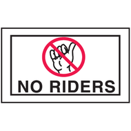 Drawing of white and red no riders mini instructional label with graphic.