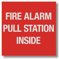 """Picture of a Fire alarm pull station sign, 4""""w x 4""""h vinyl."""