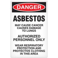 DANGER, Asbestos OSHA Signs, Paper, 100/pkg