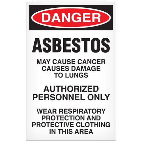 Drawing of Danger asbestos may cause cancer OSHA sign.