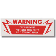 """Picture of an Electronic alarm warning sign for fire equipment, 6""""w x 2""""h vinyl."""