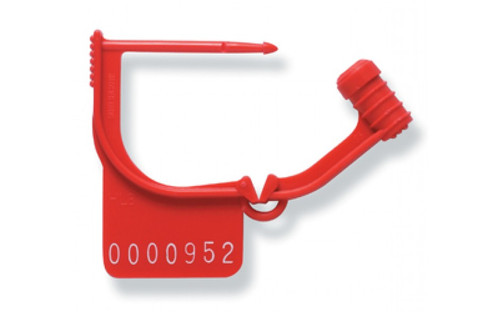 Photograph of red open spring hinge tamper seal.