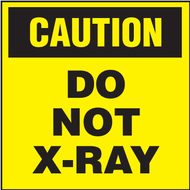 Drawing of black and yellow caution do not x-ray shipping label.