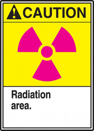 "This sign has an ANSI CAUTION header on a yellow background, a magenta international radiation symbol, and a white text box with ""Radiation area."" in black text."