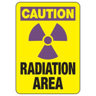 """A drawing of a yellow 01612 sign with a purple OSHA CAUTION header, purple radiation symbol and black text of """"RADIATION AREA""""."""