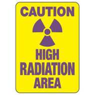 """A drawing of a yellow 01613 sign with a purple radiation symbol between purple text of """"CAUTION"""" and """"HIGH RADIATION AREA""""."""
