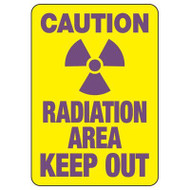 """A drawing of a yellow 01613 sign with a purple radiation symbol between purple text of """"CAUTION"""" and """"RADIATION AREA KEEP OUT""""."""