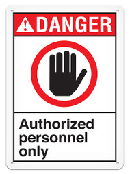 DANGER, Authorized Personnel Only ANSI Signs w/ Hand Graphic