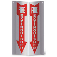 "Fire Extinguisher 3-D rigid plastic wall sign, 4""w x 12""h per side"
