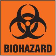 Image of Biohazard Label: biohazard symbol and word in black on orange background.