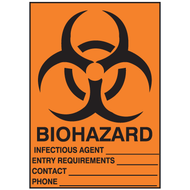 Drawing of orange biohazard sign with fill-in blanks.