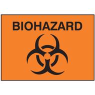 Drawing of orange biohazard sign with symbol.