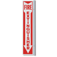 "Fire Extinguisher 90° aluminum wall sign, 2-sided, 4""w x 18""h"