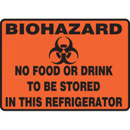 """Drawing of orange biohazard sign with symbol and text reading """"no food or drink to be stored in this refrigerator""""."""