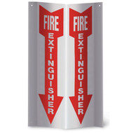"Fire Extinguisher 3-D rigid plastic wall sign, 4""w x 18""h per side"