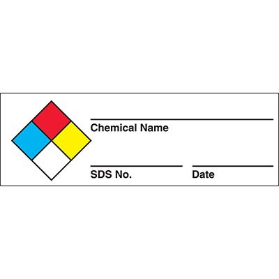 A drawing of a 01800 NFPA Chemical Name Labels On A Roll w/ MSDS # Entry.