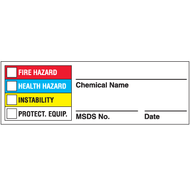 Drawing of Right To Know chemical name labels with colored bars.