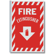 "Fire Extinguisher 90° aluminum wall sign, 2-sided w/ icon, 8""w x 12""h"