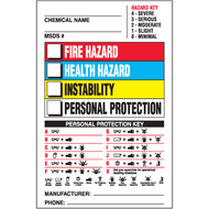 Drawing of Right To Know label with colored squares and hazard and personal protection keys.