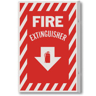 "Fire Extinguisher 90° rigid plastic wall sign, 2-sided w/ icon, 8""w x 12""h"