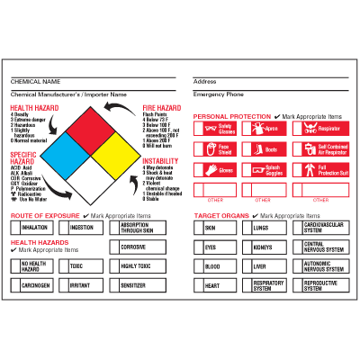 Drawing of annotated NFPA label sign with personal protection, routes of protection, and target organs.