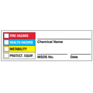 Drawing of Right To Know chemical name label with MSDS number entry and colored boxes.