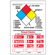 A drawing of an 01832 annotated NFPA label with  red personal protection checkboxes.