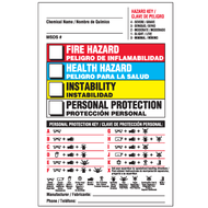 Drawing of 01837  bilingual Right To Know label with colored boxes and hazard and personal protection keys.