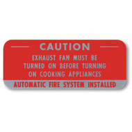 """Picture of the Aluminum caution sign for cooking system fire control systems, 5""""w x 2""""h."""