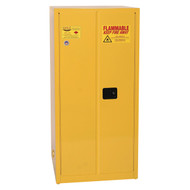 Photograph of front of closed flammable liquid safety cabinet.