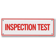 """Picture of the Inspection Test Aluminum Sprinkler Identification Sign, 6""""w x 2""""h."""