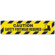 """Photograph of an anti-slip floor safety sign reading """"Caution Safety Footwear required"""" in black on a yellow background.  Includes a graphic of a a yellow and black boot."""