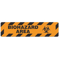 """Photograph of an anti-slip floor safety sign reading """"Biohazard Area"""" in black on an orange background.  Includes a graphic of a black biohazard symbol."""