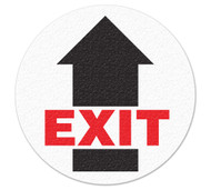 Drawing of white and black exit safety floor marker with arrow.