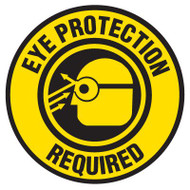 Drawing of yellow and black eye protection required safety floor marker with eye glass graphic.