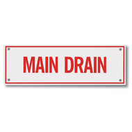 "Main Drain Aluminum Sprinkler Identification Sign, 6""w x 2""h"