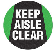 A photograph of an anti-slip safety floor markers, reading keep aisle clear.