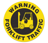 A photograph of a 05214 anti-slip safety floor marker, warning forklift traffic.