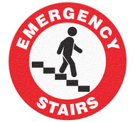 A red and white photograph of a 05234 anti-slip safety floor markers, reading emergency stairs with graphic.